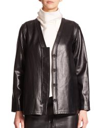 Opening Ceremony Fly Guard Leather Cardigan Jacket black - Lyst