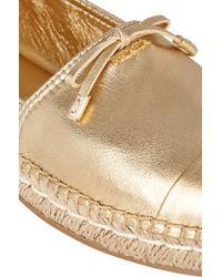 Prada Metallic Cap-Toe Espadrilles - Lyst