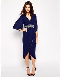 TFNC Embellished Midi Dress With Kimono Sleeves & Wrap Skirt - Lyst