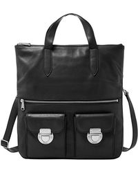 Fossil Foldover Leather Tote black - Lyst