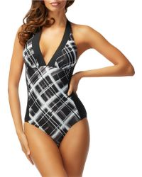 Carmen Marc Valvo - Halter One-piece Swimsuit - Lyst