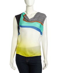 Catherine Malandrino Crystal Sleeveless Graphiccontrast Silk Blouse - Lyst