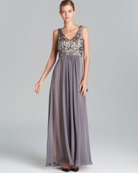 Sue Wong Gown - V Neck Sequin Bodice With Chiffon Skirt - Lyst