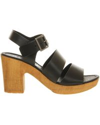 Office Deer Leather Open Toe Wedge Mid Heel Sandals - Lyst