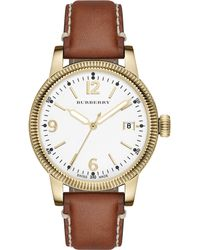 Burberry Womens Swiss Tan Leather Strap Watch 38mm - Lyst