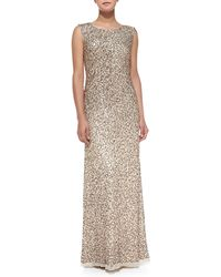 Aidan Mattox Sleeveless Allover Sequined Gown - Lyst