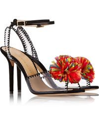 Charlotte Olympia Pom Embellished Pvc and Suede Sandals - Lyst