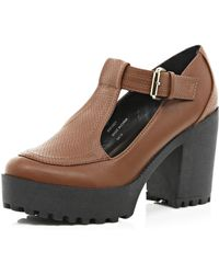 River Island Tan Chunky Cleated Sole T Bar Shoes - Lyst