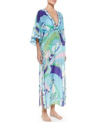 Emilio Pucci Bell-sleeve Printed Caftan Coverup - Lyst
