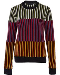 Jonathan Saunders Multicolour Panel 3d Stripe Wool Knit Jumper - Lyst