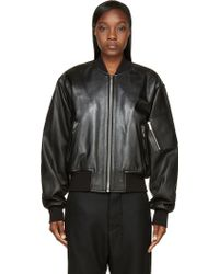 Juun.j Black Leather Sign Society Bomber Jacket - Lyst