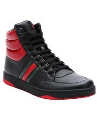 Gucci Black And Red Padded Leather Contrast High-Top Sneakers - Lyst