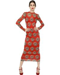 Dolce & Gabbana Sacred Heart Printed Chiffon Dress - Lyst