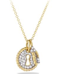 David Yurman Cable Collectibles Lock and Key Charm Necklace with Diamonds in Gold - Lyst