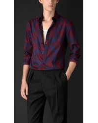 Burberry Leaf Print Cotton Silk Artist Shirt - Lyst