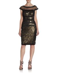 Tadashi Shoji Off The Shoulder Sequin Cocktail Dress - Lyst