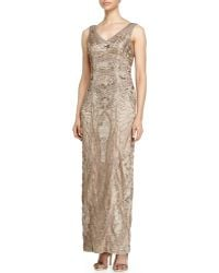 Sue Wong Sleeveless V-Neck Embroidered Column Gown - Lyst