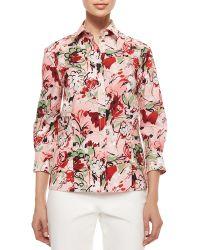 Carolina Herrera Three-Quarter-Sleeve Bouquet-Print Button Blouse - Lyst