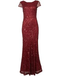 Shubette All Over Sequin Cap Sleeve Fishtail Maxi Dress - Lyst