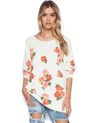 Wildfox Rose Collage Road Trip Sweater - Lyst