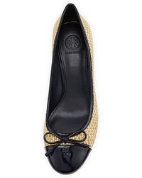 Tory Burch Catherine Captoe Raffia Wedge Navy - Lyst
