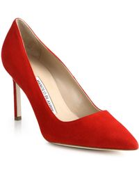 Manolo Blahnik Bb Suede Point-Toe Pumps red - Lyst