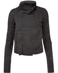Rick Owens Taupe Blister Leather Biker Jacket - Lyst
