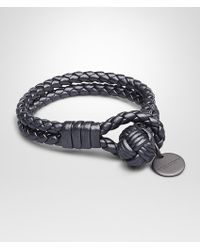 Bottega Veneta New Light Grey Intrecciato Cervo Metal Bracelet - Lyst