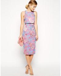 Asos Jacquard Crop Top Dress In Pastel Floral - Lyst