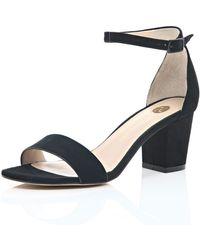 River Island Black Block Heel Sandals - Lyst