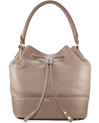 DKNY Tumbled Leather Bucket Bag - Lyst
