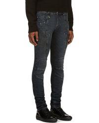 Pierre Balmain Indigo Distressed Moto Skinny Jeans - Lyst