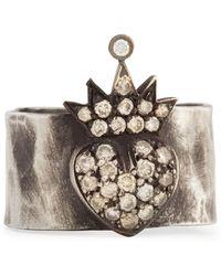 Irit Design - Silver Pave Cognac Diamond Heart & Crown Band Ring - Lyst