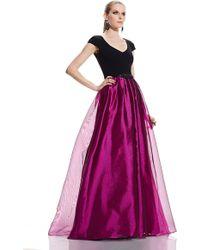 Theia | purple Shimmer Gazar Cap Sleeve Gown | Lyst