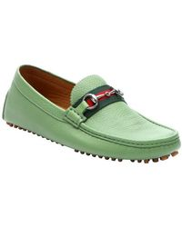 Gucci Country Side Green Leather Horsebit Drivers - Lyst