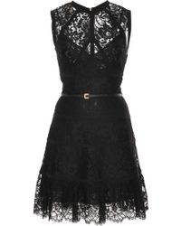 Elie Saab Sleeveless Lace Short Dress - Lyst
