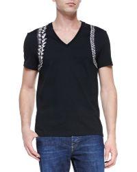 Alexander McQueen Skeleton-harness V-neck Tee - Lyst