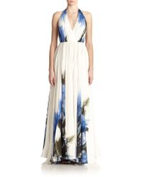 Milly Silk Printed Halter Gown - Lyst