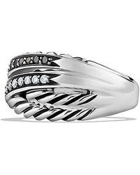 David Yurman Crossover Ring With Diamonds - Lyst