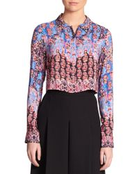 Nanette Lepore Silk Sultry Night Cropped Shirt - Lyst