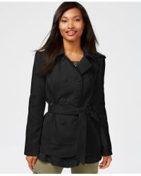 Celebrity Pink - Double-breasted Layered-hem Peacoat - Lyst