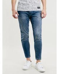 Topman Crop Mid Wash Stretch Skinny Jeans - Lyst