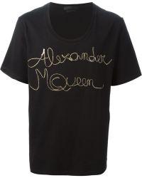 Alexander McQueen Black Oversize T-Shirt - Lyst