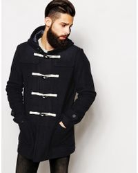 Asos Wool Duffle Coat In Navy - Lyst