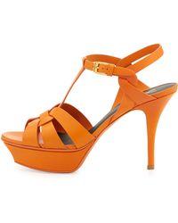 Saint Laurent Tribute Midheel Leather Platform Sandal Orange - Lyst
