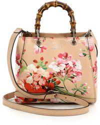 Gucci | Bamboo Shopper Mini Blooms Bag | Lyst