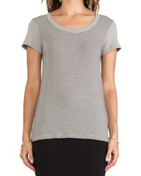 James Perse Stripe Scoop Neck Boy Tee - Lyst