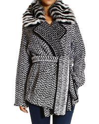 Fendi Coat Cardigan Mesh Alpaca With Fox Collar - Lyst