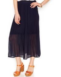 Maison Jules Solid Pleated Midi Skirt - Lyst