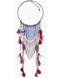 Zara Long Ethnic Feather Necklace - Lyst